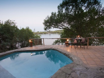 Chundukwa River Lodge swimming pool Upper Zambezi Zambia (hi-res JPG)