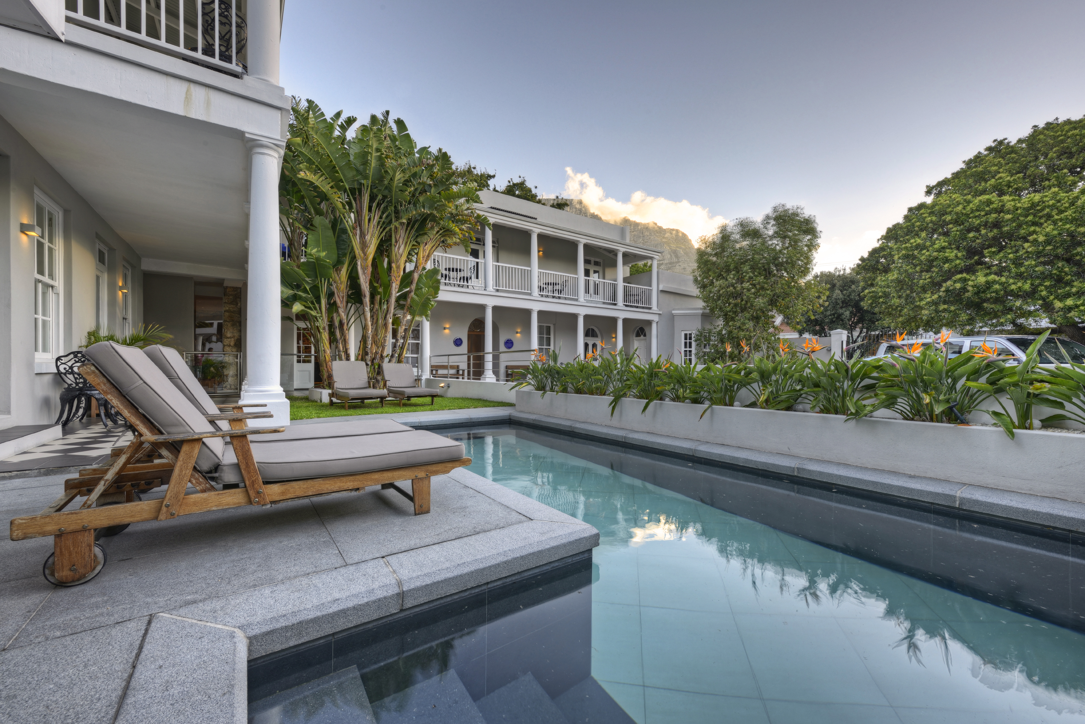 Swimming pool and courtyard at The Three Boutique Hotel, Gardens district of Cape Town (hi-res JPG)